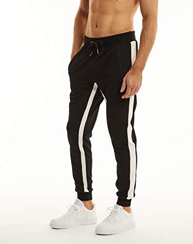 Ouber Men's Gym Jogger Pants Slim Fit Workout Running Sweatpants with Zipper Pockets (M,Black)