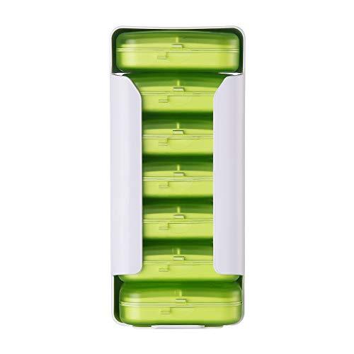 JS-Bonita Pillendose mit 6 Fächern für Zuhause, Reisen, Kunststoff, mit Schublade, 4 Fächern, weiß, 6grid