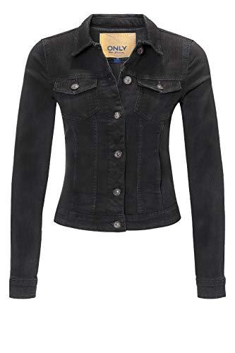 ONLY Damen Jeansjacke Übergangsjacke Leichte Jacke Denim Casual GE LESTA (XL (42), Black Denim)