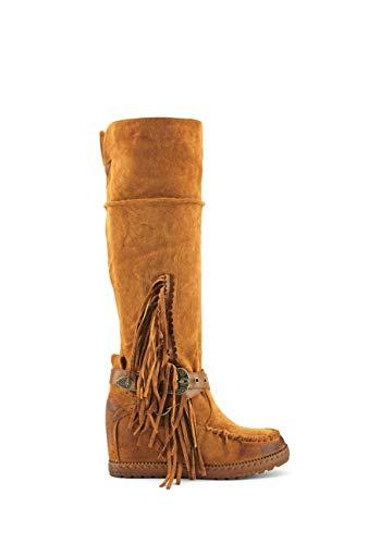 Modelisa - Botas Altas con Tacón Cuña Flecos para Mujer (Camel, Numeric_39)