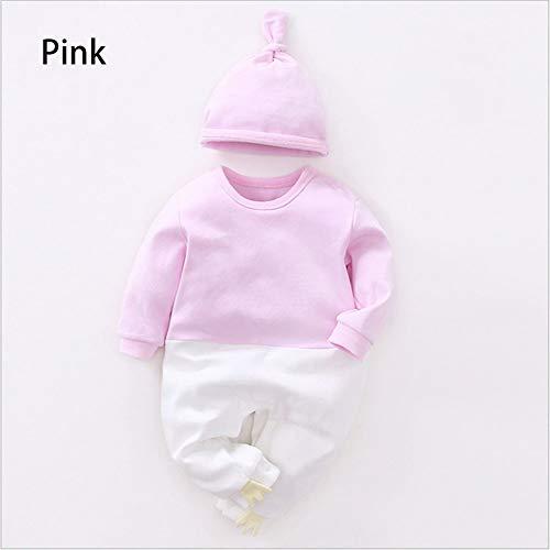 L-SLWI Langärmeliger Herbst-Babyoverall Neugeborener mit Kapuze Spielanzug Baby-Fallkleidung,Pink