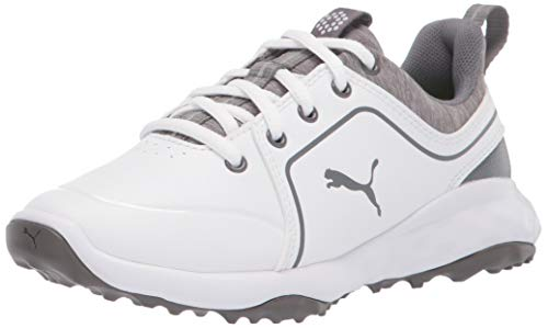 PUMA unisex child Grip Fusion 2.0 Golf Shoe, Puma White-quiet Shade, 1 Little Kid US