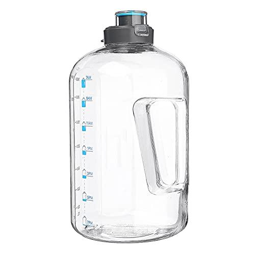 Botellas deportivas de 3,78 L, gran capacidad, botella de agua deportiva con cepillo de limpieza, gimnasio, entrenamiento, gorra de caldera de camping (tamaño: tamaño libre; color: transparente)