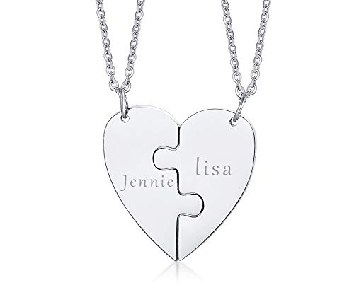 XUANPAI Personalized Customized Stainless Steel Matching Heart Shape BFF Jigsaw Puzzle Couple Friendship Family Pendant Necklaces Engraving Jewllery Birthday Anniversary for Mens Womens