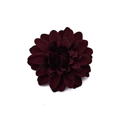 Artificial Flower, 30 Pieces Artificial Dahlia Silk Flower Heads Wedding DIY Garland Gift Box Scrapbooking Craft Fake Flowers – Burgandy