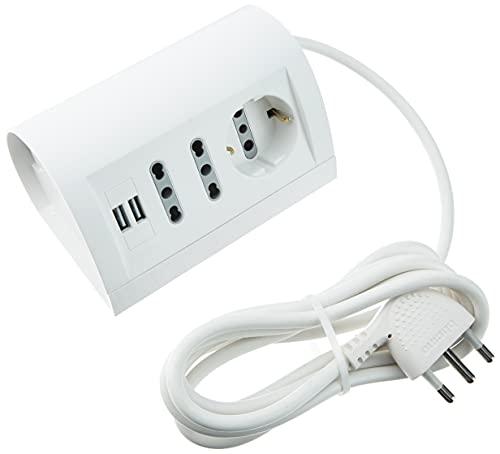 BTicino S3711DU Multipresa da Scrivania con Presa USB, 1.5A, Cavo da 2 m, Bianco