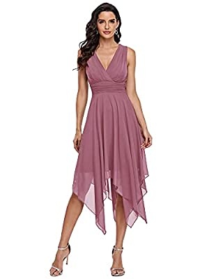 Ever-Pretty Women's Irregular Sleeveless V-Neck Chiffon Short Bridesmaid Dresses Orchid US4