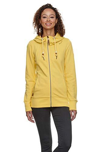 Ragwear Damen Liberty Organic Sweatjacke, Frauen Sweatshirt mit Reißverschluss,Zip Hoodie,Kapuze,Stehkragen,Regular Fit,Gelb,XXL