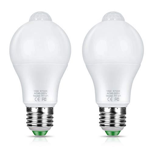 Adoric 2 Stück Smart LED Lampen, Glühbirne mit Bewegungssensor, Intelligente Energiesparlampe, Intelligente Sensorlampe für Schlafzimmer, Bade, Haustür, 10W Lampe mit PIR-Infrarotsensor
