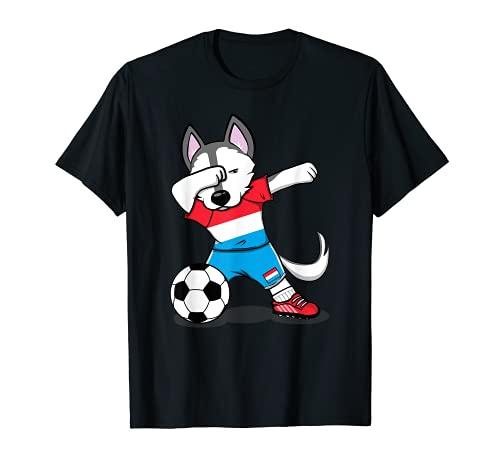 Dabbing Husky Dog Luxemburgo Fútbol - Bandera de Luxemburgo Camiseta