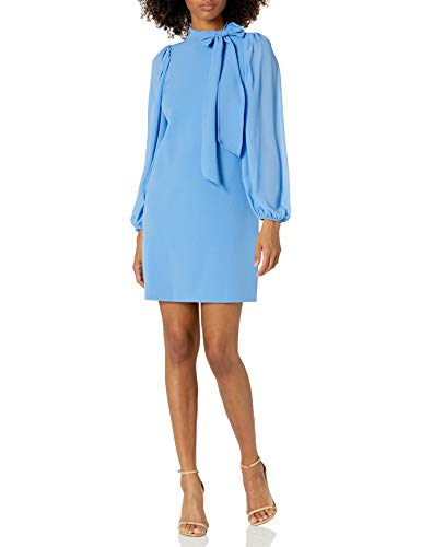 Vince Camuto Women's Signature Stretch Crepe Bow Neck Shift with Chiffon Sleeve, Periwinkle, 6