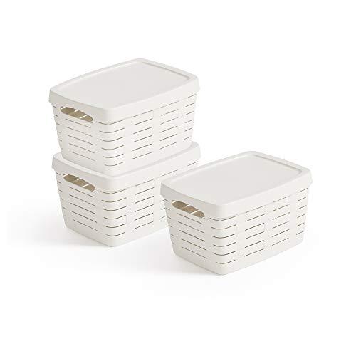 USE FAMILY Bamboo, Cestas almacenaje baño Tapa - 3 x 7L -Apilable- Blanco- Plastico reciclable- contenedor con Tapa
