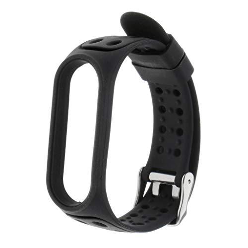 Flameer Moda pulseira de relógio pulseira de silicone para xiaomi mi banda 5 - Preto
