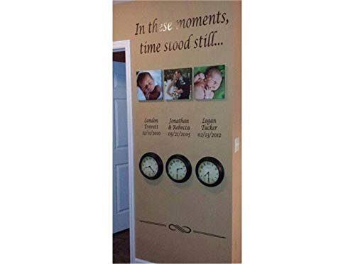 wandaufkleber kreise In diesen Momenten stand die Zeit still Customized Name und Datum für Wohnzimmer Schlafzimmer (nicht enthalten die Fotos und Uhren)
