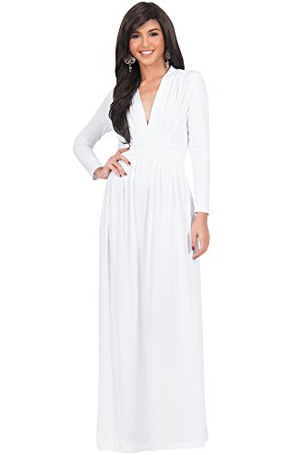 KOH KOH Plus Size Womens Long Sleeve Sleeves Vintage V-Neck Autumn Fall Winter Formal Evening Casual Flowy Maternity Abaya Muslim Islamic Cute Gown Gowns Maxi Dresses, Ivory White XL 14-16