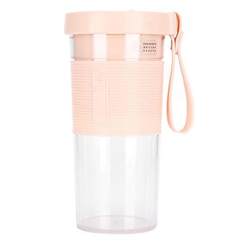 【𝐑𝐞𝐠𝐚𝐥𝐨】 Exprimidor de jugo, licuadora de verduras, botella mezcladora, herramienta automática, exprimidor de frutas eléctrico portátil de 320 ml para deportes y viajes(Pink, 320ml)