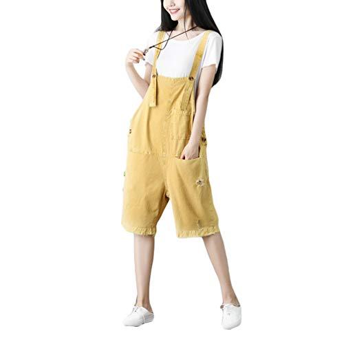 YuanDian Damen Latzjeans Weites Bein Große Größen Denim Latzhose Overalls Strampler Jeans Boyfriend Loose Fit Umstands Schwangerschaft übergroße Jumpsuits Hose 4# Gelb
