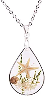 Artmiss Starfish Pendant Necklace Seashell Teardrop Ocean Beach Conch Resin Transparent Long Necklace Chain for Women (White)