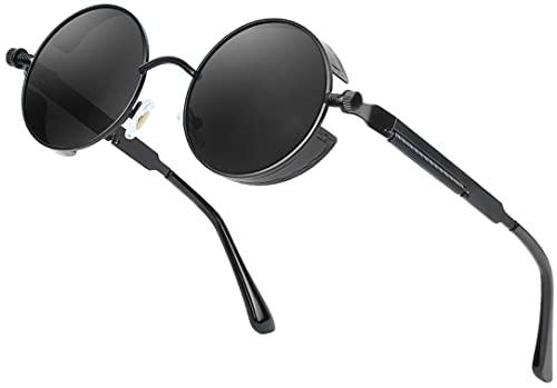 AMZSPORT Gafas de Sol Redondas Polarizadas para Hombre, Mujer y Estilo Retro Steampunk con Protección Uv, Marco Negro Lente Negro