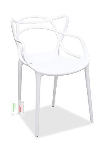 Stil Sedie - Sedie in Polipropilene impilabile Cucina Bar Ristorante per Interno ed Esterno Confezione da 4 Pezzi Modello Lory (Bianco)