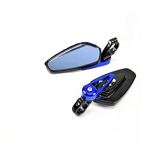 KXLBHJXB 7/8'22mm Bar End Reflejos Traseros Accesorios De Motocicleta Moto Scooters Retroview Mirror Vista Lateral Meno para Cafe Correr (Color : Blue)
