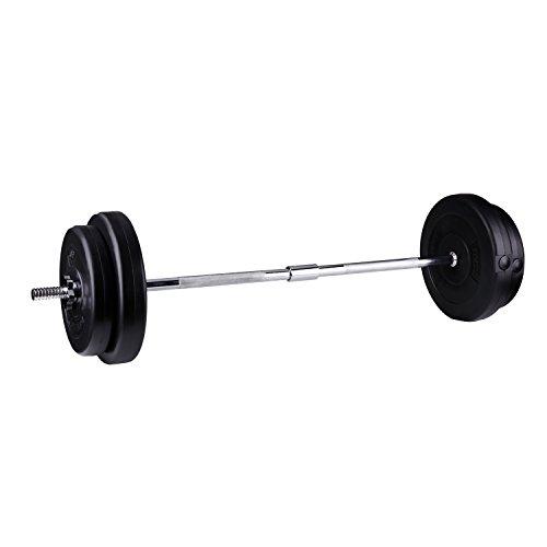 CCLIFE Set bilanciere Manubrio bilanciere Curvo Dritto/con Dischi 30kg / 60kg, Colore:Set bilanciere 30kg