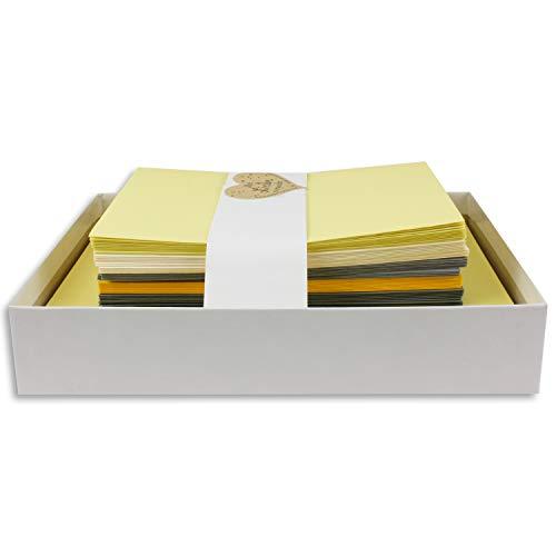 25x Farbige Karten blanko mit passendem Umschlag und Einlegeblätter in Creme in DIN A6/ DIN C6 - Grau und Gelb Farben ideal für Einladungen und Geschenke