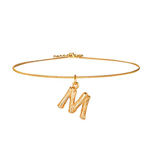 FOCALOOK Collar Choker de Mujer Colgante Nombre Inicial Alfabeto A-Z Diseño Especial con Cadena Serpiente Chapado en Platino/Oro