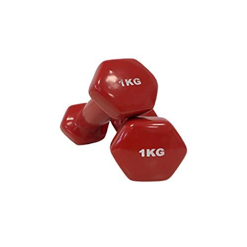 Natural Logistics Mancuernas de Vinilo (Vendido en Pares de 1 kg, Rojo) | Mancuernas hexagonales de Goma para Pilates | Pesas Antideslizantes para Gimnasio en casa | Deporte en casa con Pesas. KOTTAO