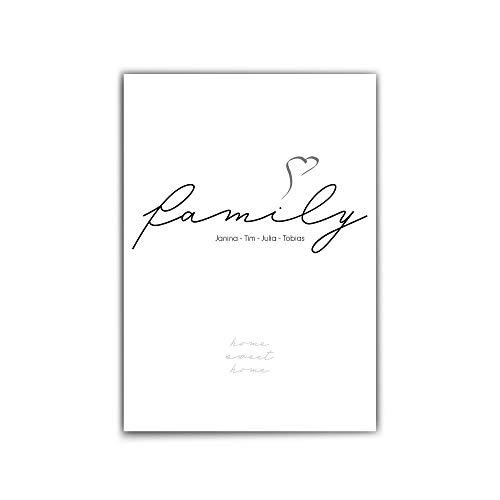 Personalisiertes Geschenk, Familie - Poster - Typografie – Family - Herz - Familien Namen personalisiert - schönes persönliches Geschenk für euer Zuhause - BIlder Familie - ohne Rahmen