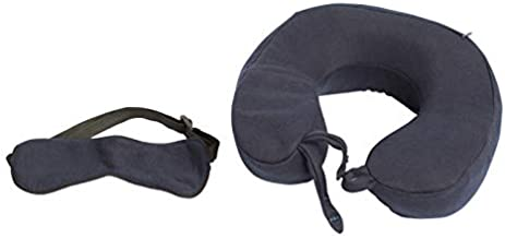 Wakefit Grey Neck Pillow With Eye Mask