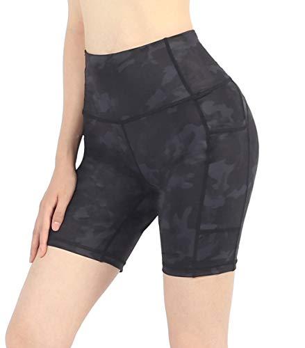 Neonysweets Womens Workout Yoga Short Pants Active Running Shorts Pocket (Medium, Yogashorts-Black Camouflage)