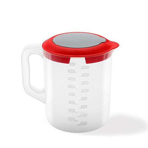 USE, Chef- Vaso medidor batidora de Mano- 3 EN 1 - Apto microondas- Fabricado plástico reciclable-Recipiente Mezclador de plástico reposteria(1.6 litros)