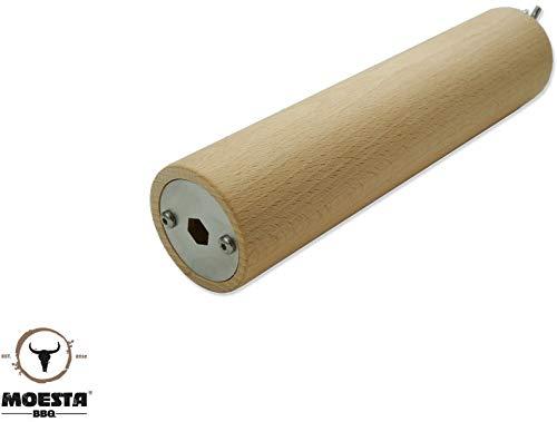 Moesta-BBQ 10358 FeuerWalze - Buchenholzrolle für Rotisserie – Baumstriezel, Baumkuche, Kaminbrot oder Cannoli selber Machen Durchmesser bis 11,8mm
