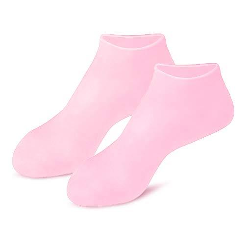 Moisturizing Gloves&Socks, Silicone Gel Gloves for Dry Skin, Cracked Hands and Foot, Full Finger Waterproof Gloves for Hands Foot Care SPA (Pink, Socks)