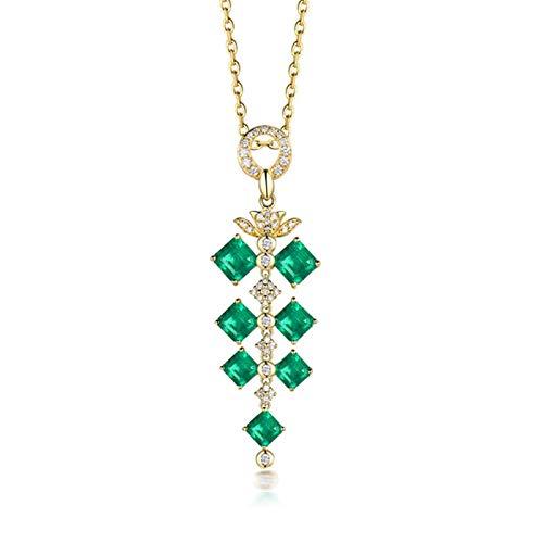 KnSam Collier Femme Or Jaune 18 carats avec Émeraude Naturelle 4.4ct2 et Diamant, Bijou Fin Personnalisé