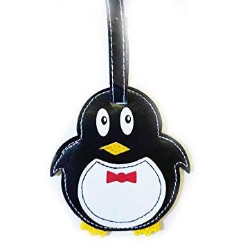 Cute Bright Animal Luggage Tags Practical Kids Travel Accessory in Frog, Dog, Monkey Or Penguin Design (Penguin)