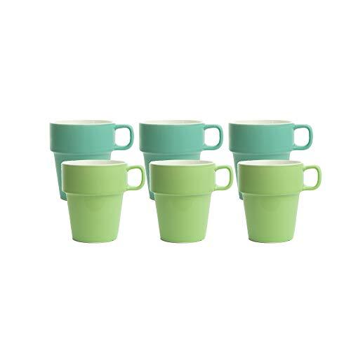 MC Trend 6er Set Tassen Kaffeebecher Becher Pott Geschirr Cafe Bistro Kantine Frühstück Brunch Teetasse Geschenk-Idee (6er Set Türkis/Grün)
