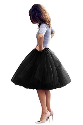 Tüllrock Damen Tutu Skirt 5 Lage Petticoat Ballettrock Unterrock Pettiskirt Schwarz