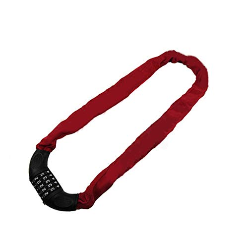 HJKKLL Fiets Ketting Lock, 5-cijferige combinatie, Heavy-Duty, Anti-Diefstal Ketting Kabel Veilig, Snel En Veilig Ontgrendelen zonder sleutel