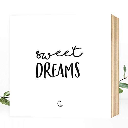 Wunderpixel® Holzbild Sweet Dreams - 15x15x2cm zum Hinstellen/Aufhängen, echter Fotodruck mit Spruch auf Holz - schwarz-weißes Wand-Bild Aufsteller Zuhause Büro zur Dekoration oder als Geschenk-Idee