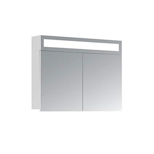 HAPA Design Spiegelschrank Miami weiß mit LED Beleuchtung in Lichtfarbe 4500K, VDE Steckdose, Softclose Funktion und verstellbaren Glas Ablagen. Komplett vormontiert. SGS geprüft. (80 x 60 x 14 cm)