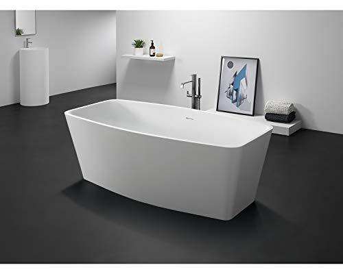 Home Systeme - freistehende Badewanne Mineralguss OBERO Badewanne Standbadewanne Wanne Bad Ablauf Badezimmer