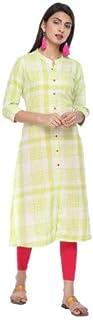 Alena Women Straight Fit Cotton Yard Dyed Checks Casual 3/4th Sleeve Kurta Navy