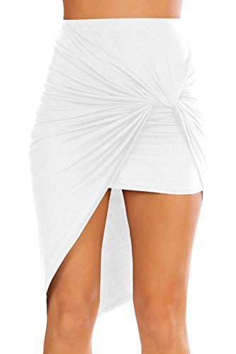 Simlu Womens Drape Up Stretchy Asymmetrical High Low Short Mini Bodycon Pencil Skirt White Large