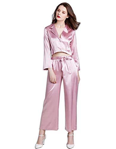 BigForest Damen-Trainingsanzug-Set mit langen Ärmeln, Jumpsuits, Strampler, Nachtwäsche, Satin-Nachthemd Gr. Large, rose