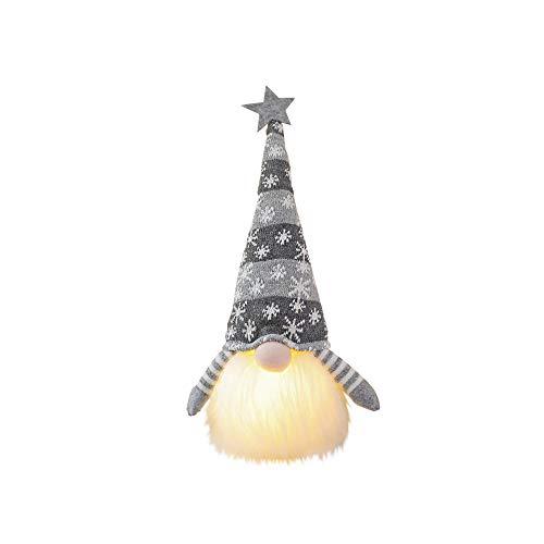 Decoracin de gnomo de Navidad con luz hecha a mano escandinava Santa Elfo, perfecto para vacaciones, hogar, fiesta, oficina, regalo de cumpleaos