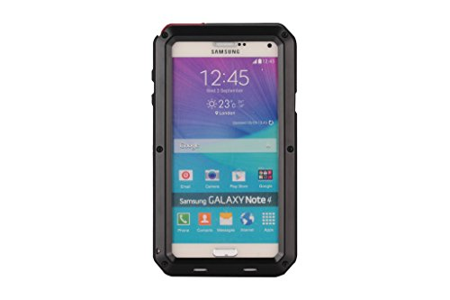 Galaxy Note 4 case,Amever Luxury Shockproof Water Resistant Dust/Dirt/Snow Proof Aluminum Metal Protection Case Cover for Samsung Galaxy Note4 N9100 with Front Cover and Built-in Screen Protector