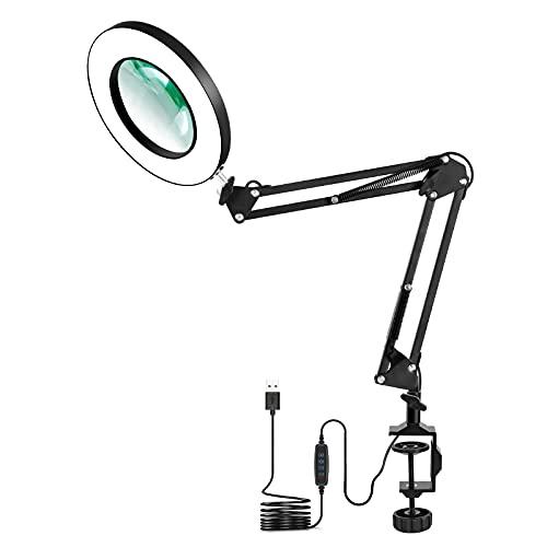 Lámpara de aumento LED con abrazadera, NEWACALOX 5X lámparas de lupa iluminadas de 3 colores Super Bright regulables, lámpara de brazo giratorio ajustable para mesa de trabajo
