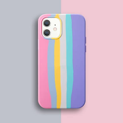 Suitable for iPhone 12/11 Pro Max XR XS Max 8 7 Protective Cover, Rainbow Striped Gradient Soft Liquid Silicone Sleeve, Photo Frame Square Mobile Phone Case